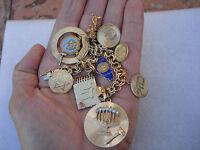 Vintage 14K Gold Charms Diamond Ruby Jewish Judaica Moses Hanukah Bracelet