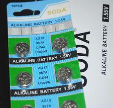 50 x pile alcaline 1.55V soda AG13 357A CX44 LR44W livraison gratuite royaume-uni vendeur