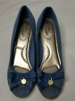 Dexflex comfort wedge Denim Peep Toe Size 10