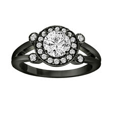 Black Platinum Diamond Engagement Ring 0.96 Ct Halo Pave Certified Vintage Style