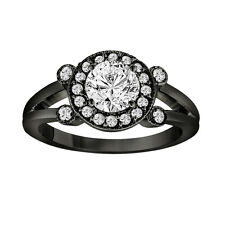Black Platinum Diamond Engagement Ring 0.96 Ct Halo Pave Certified Vintage Style