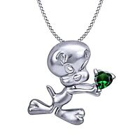 14CT White Gold Over Tweety Bird Heart Cut Emerald Pendant Chain Necklace