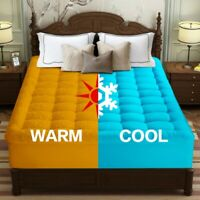 Cooling 400TC Pillowtop Mattress Topper Warm Plush Sherpa Reversible Pad Cover