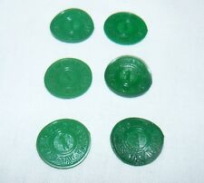 Washington State Green Plastic Tax Tokens Set of 6 Matching Pieces