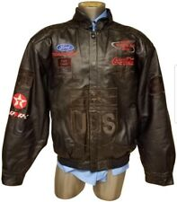 JH DESIGN MAN LEATHER JACKET BOMBER UPS  RACING NASCAR SIZE XL