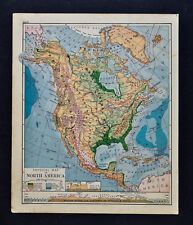 1887 Cowperthwait Physical Relief Map  North America United States Canada Mexico