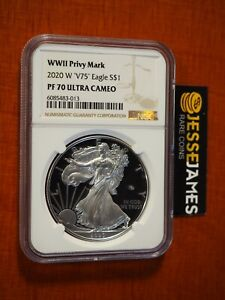 2020 W PROOF SILVER EAGLE WORLD WAR II V75 PRIVY NGC PF70 ULTRA CAMEO BROWN LABL
