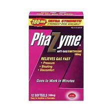 Phazyme 180mg Anti-gas Simethicone 12 Softgels Each
