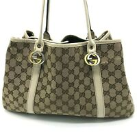 Auth Gucci GG canvas Twins GG Tote bag leather beige brown