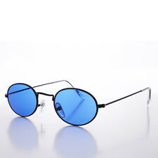 Blue Color Tinted Oval Lens 90s Vintage Sunglass Black Frame - Sherbert