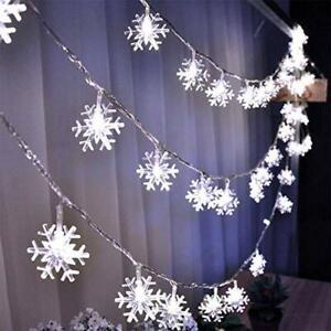 Luces 20 ft 40 LED Copos De Nieve Blancos Navidad Decoracion Para El Hogar Casa