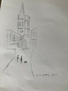 original Ink Drawing Signed L.S Lowry 1957