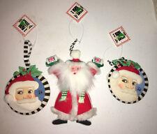 Christmas Mary Engelbreit Ornaments 1994 1995 Plush Fabric Stuffed Santa W Tags