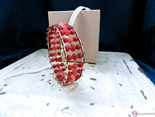 SARA BLAINE Rojo Bangle ~ Triple-Row Red Jade & Sea Bamboo  ~ S/M