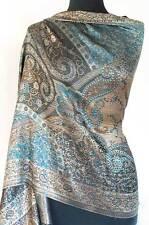 Iridescent Silk Jamawar India Paisley Shawl Black & Turquoise Jamavar Wrap