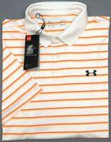 NWT $60 Under Armour Golf Heat Gear SS White Orange Striped Shirt Mens MD LG XL