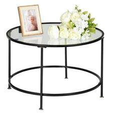Home 2 Layers Round Iron Coffee Table Room Tempered Glass Countertops Black US