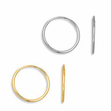 Classic Endless Hoop Earrings Solid 14K Yellow & White Gold 10mm - 18mm 20MM