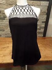 Ralph Lauren Halter Top Black Fish Net Sexy Stretch Women's Size Large NWT