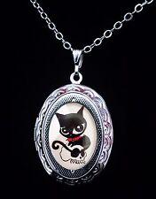 Doom Kitty Ruby Gloom Cat Skull Silver Childrens Locket Necklace Goth Cute