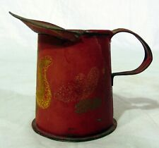 Antique Pennsylvania Dutch Handpainted Red Toleware Tin Pitcher