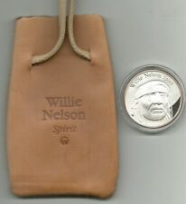 Rare Island Records Willie Nelson Spirit Promo Silver Coin + Leather Pouch