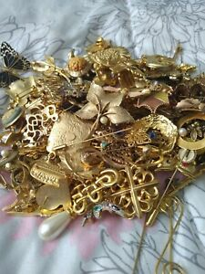 Gold plated and gold color pins and brooches lot 1lb 12 ounce