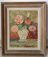 Beautiful Antique Oil Painting by Elisée MACLET (1881 - 1962) The Vase of Roses
