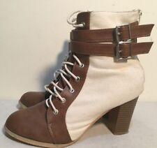 Valleygirl Size AU 9 Women's 2 Tone Color Lace/2 Buckle Detail Block Heel Boots