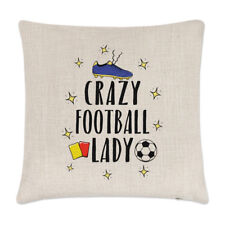 Crazy Football Lady Linen Cushion Cover Pillow - Funny Soccer Sport