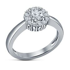 White Gold Over Engagement Wedding Ring 1.20 Ct Diamond Round Cut Solid 10K