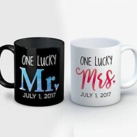 "Couples Coffee Mug - Lucky Mr Lucky Mrs ""Date"" - Cute 11 oz Black/White Ceramic"