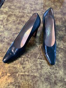 Salvatore Ferragamo Women's Black Leather High Pump Heel Shoes- size 8.5