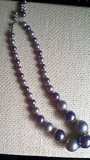 vintage CHINESE  purple lilac luster threaded beaded necklace signed HONG KONG