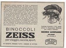 Pubblicità epoca BINOCOLI LEHMANN ZEISS JENA reklame advert werbung publicitè
