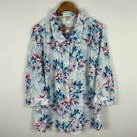 Damart Womens Blouse Top 22 Plus White Floral 3/4 Sleeve Button Closure Collared
