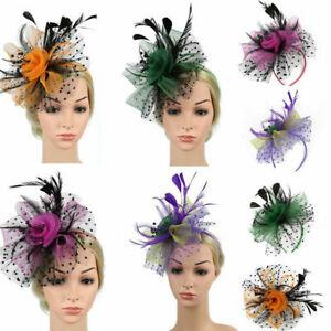 Flower Feather Colorful Alice Headband Clip Fascinator Wedding Race Royal Ascot