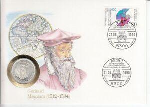 Numisbrief  Deutschland  5 DM  Silber  Gerhard Mercator  1990