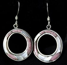 Sajen Inlaid Rhodochrosite Mother of Pearl Wire Earrings Sterling Silver .925