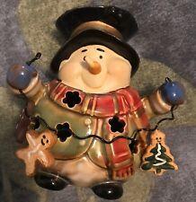 Ceramic SNOWMAN Christmas tea light or votive candle holder