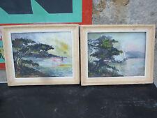 2 tableaux anciens cadre bord de mer signé miguet maurutto