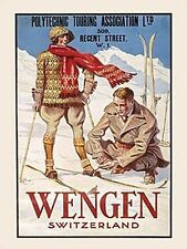 Wengen Swiss Alps Skiing Snow Holiday Old Classic Travel Small Metal/Tin Sign