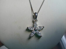"""925 Silver  Necklace 17"""" With Flower Pendant Great Gift Idea Xmas, Birthday"""