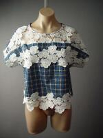 60s Plaid Check Crochet Doily Floral Scalloped Hem Boxy Top 132 mv Blouse S M