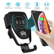 10W Wireless Fast Charger Automatic Sensor 360° Rotation Car Phone Holder 2 in 1