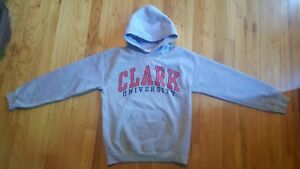 Clark University College Hoodie Sweatshirt Gray & Red Spellout Adult Size Small