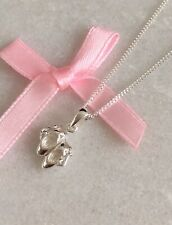 925 Sterling Silver Ballerina Ballet Slippers Shoes Pendant Necklace With Chain