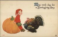 Thanksgiving - Little Boy Huge Pumpkin & Turkey c1910 Postcard