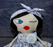 Handmade Tilda style Doll - little girl in blue , Decoration, Present, MiniU