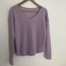 PURE COLLECTION 100% Cashmere Jumper Approx Size 12 Lilac Purple Ribbed V Neck